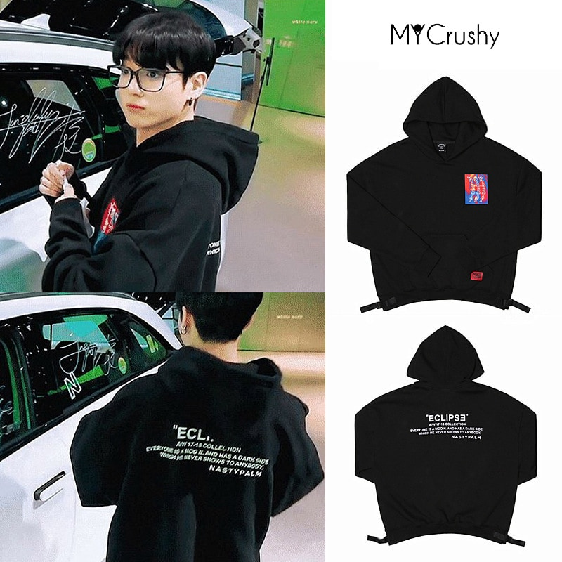 2020 New Jungkook Same Black Hoodie Sweatshirt Fashion Hiphop Kpop Clothes Gift Bangtan Boys Merch Men Woman Clothing