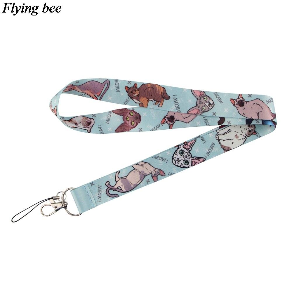 Flyingbee mignon drôle chat porte-clés téléphone lanière mode sangle cou lanières pour carte didentité téléphone clés X0913