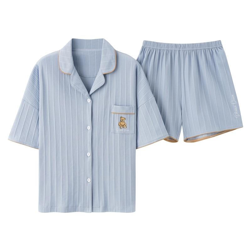 Pure Cotton Pajamas Women's Summer Short Sleeve Shorts 2021 New Korean Cardigan All Cotton Thin Home