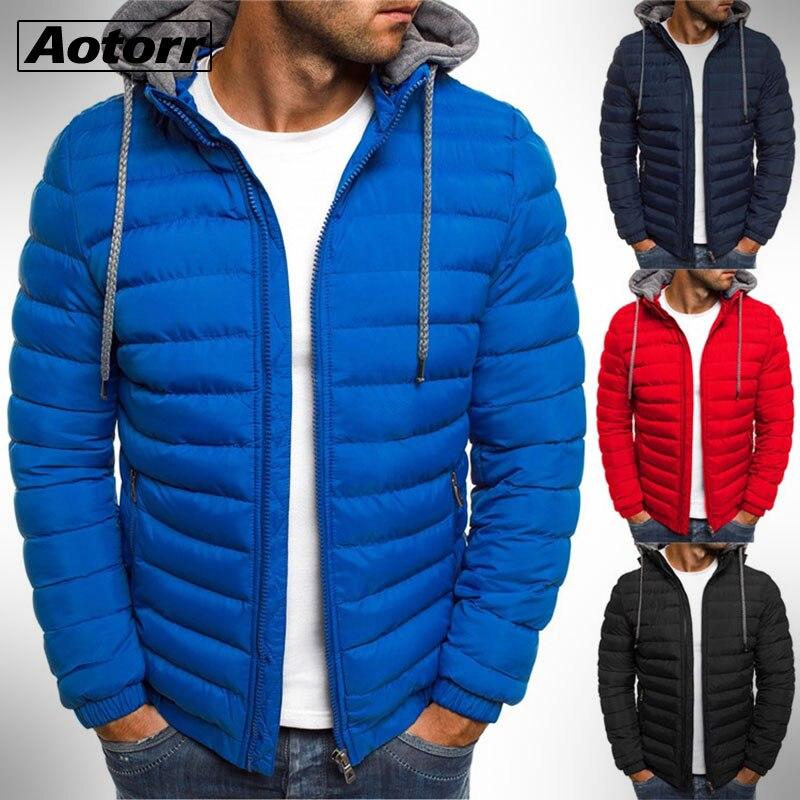 Parka cálida para hombre, chaqueta gruesa con capucha, prendas de vestir de algodón para hombre, abrigo ajustado con cremallera, chaqueta rompevientos de retales informal para hombre