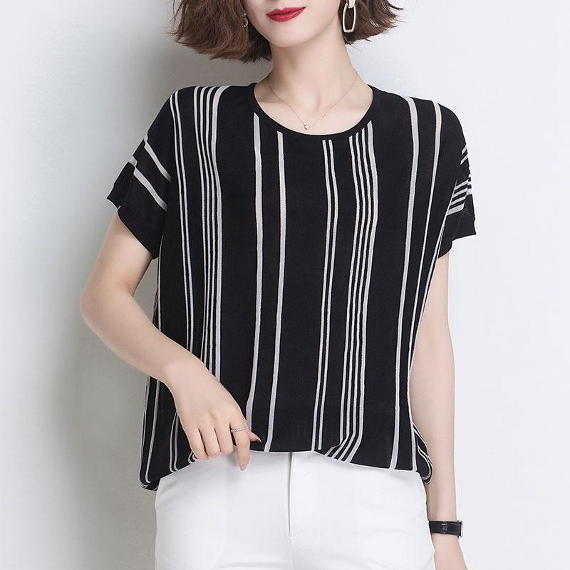 Korean loose short bat sleeve ice silk stripe T-shirt women's summer new style westernized short sleeve thin loose T-shirt