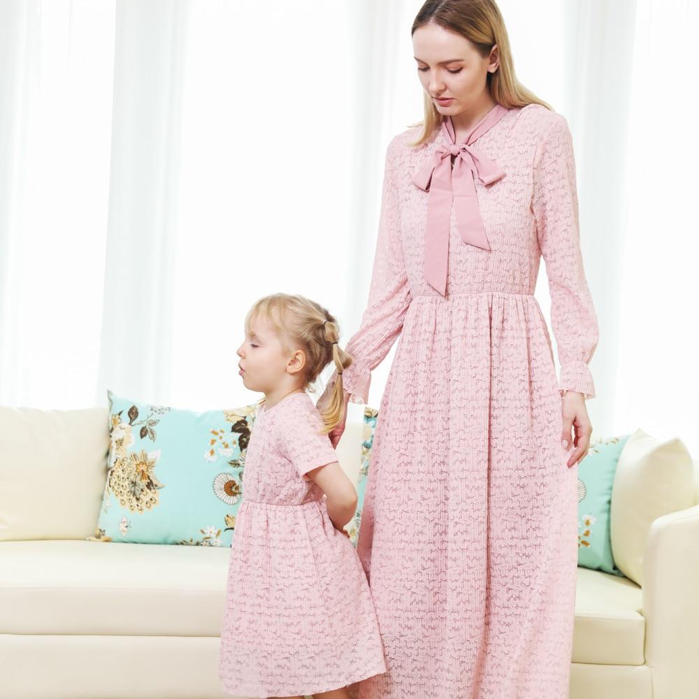 2021 New Women Girls Shirt Dress Cotton Lace Pink Family Matching outfits long dress Casual Women Girls Maternity Dresses