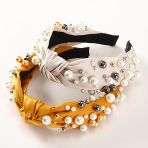 AWAYTR New Fashion Women Hair Accessories Wide Side Headband Mix Pearls Baroque Hairband For Adult Center Knot Headwear