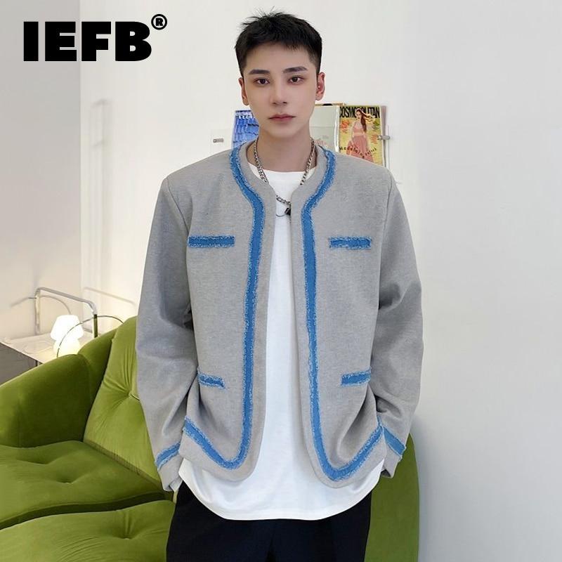 IEFB الملابس الرجالية الكورية موضة الدنيم حزام تقسم الصوف سترة الرجال جديد فضفاض الجولة الرقبة معطف قصير المد الخريف الشتاء 2021