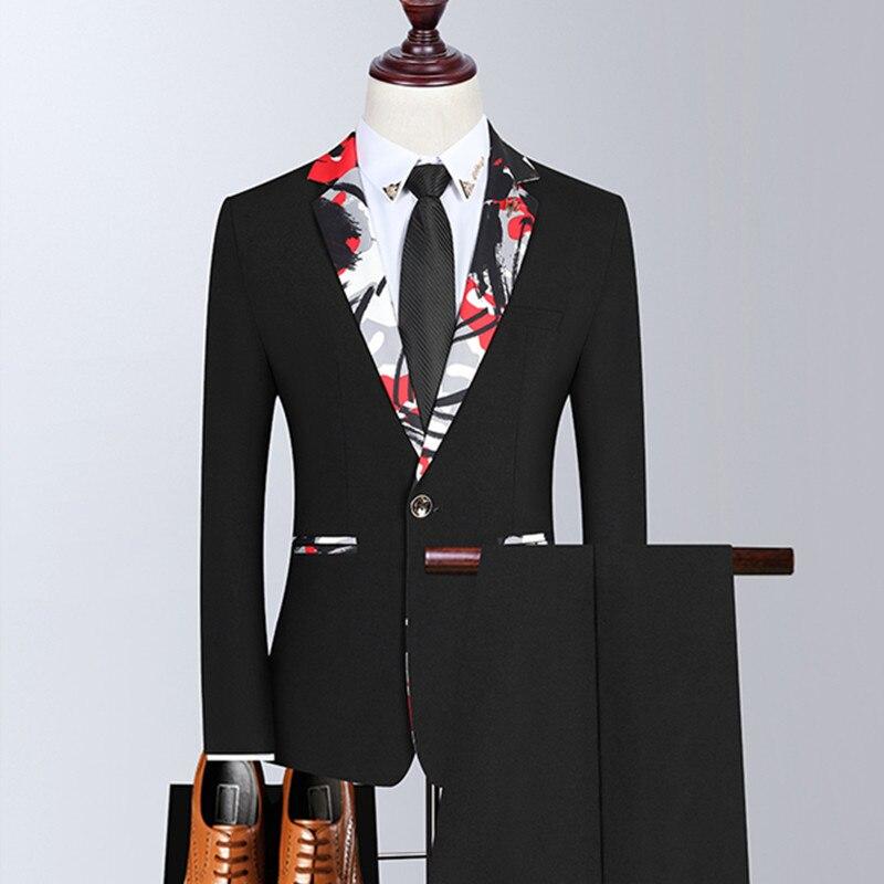 بليزرز سترة السراويل 2 قطعة مجموعة/2021 موضة جديدة للرجال بوتيك الأعمال التمويه طوق دعوى معطف بنطلون