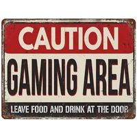 pottelove metal sign caution gaming area vintage street signs aluminum for home and garage wall decoration 11 8%c3%9715 7inch