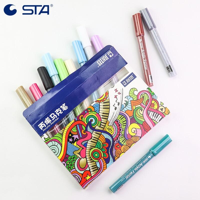 STA 1000 12 цветов акриловые художественные маркеры на водной основе пигментные