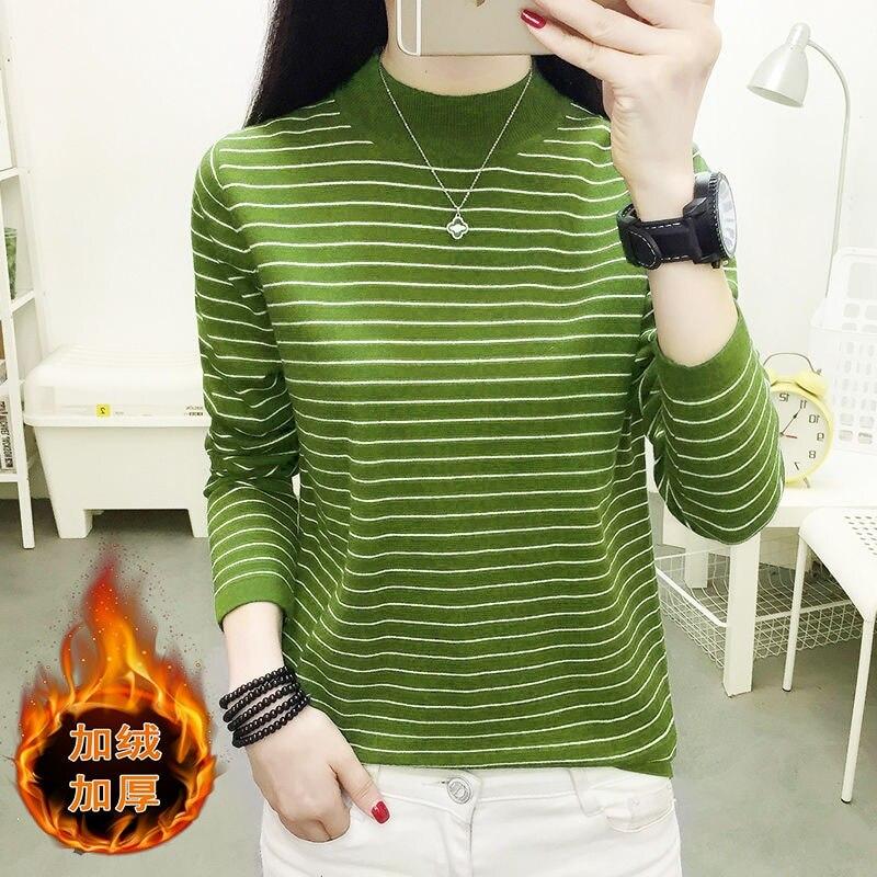 Camisa ajustada para mujer, ropa de punto de otoño e invierno, versión coreana de la marea, suéter de cuello corto para mujer