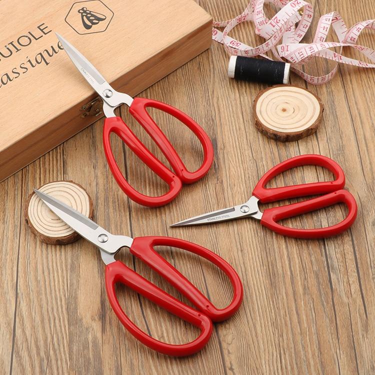 ZOTOONE tijeras de acero inoxidable para el hogar y la Oficina, tijeras rojas de plástico para regalo, tijeras de sastre de tamaño S/M/L
