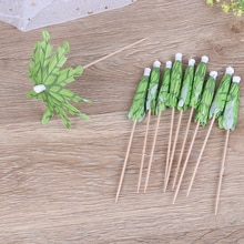 10 stücke Grün Coconut Baum Sticks Partei Dekoration Cupcake/Obst/Kuchen Topper Decor Pricks Regenschirm Picks Party Kunstwerk zahnstocher