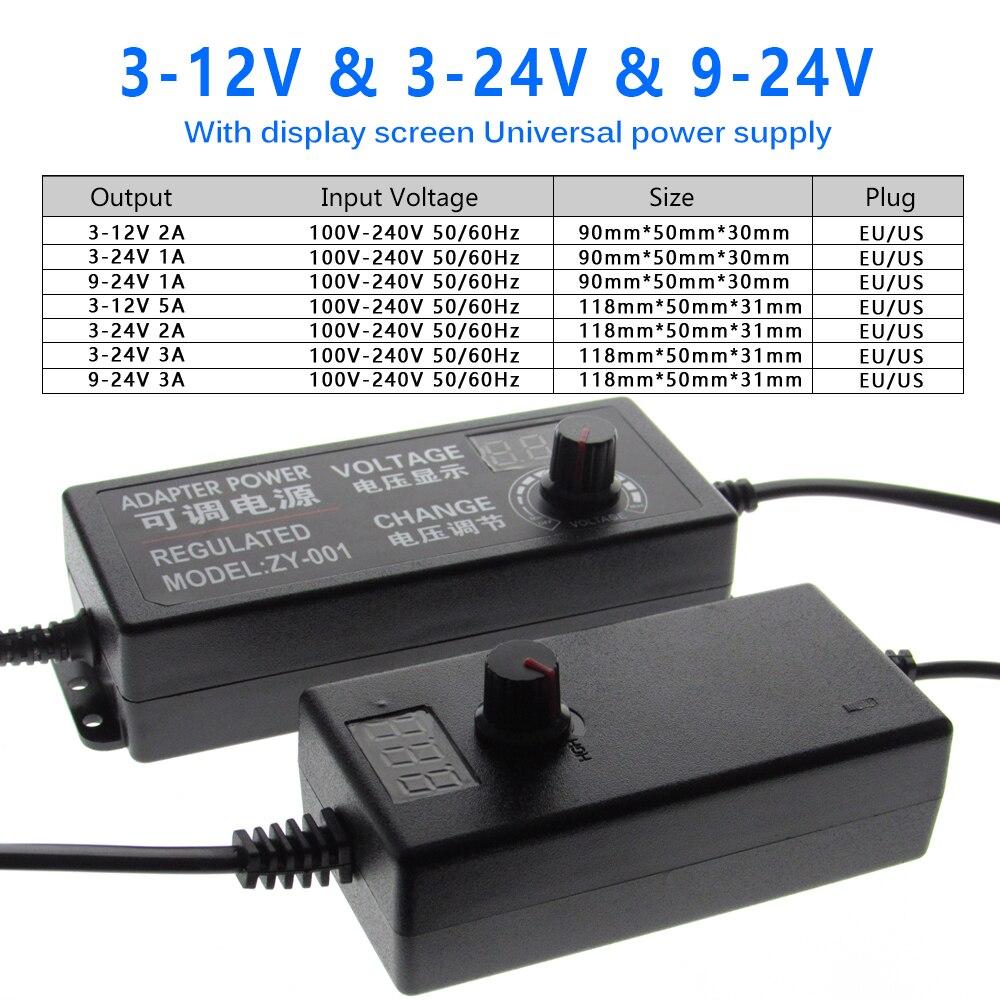 Adjustable AC To DC 3V-12V 3V-24V 9V-24V Universal Adapter With Display Screen Voltage Regulated CCTV Power Supply Adatpor enlarge