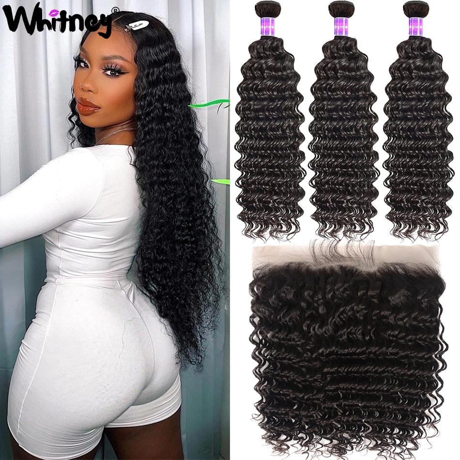 Mongolian Deep Wave Human Hair Bundles With Frontal Virgin Hair Water Curly Lace Closure With 3/4 Bundles Deep Bundles Frontal