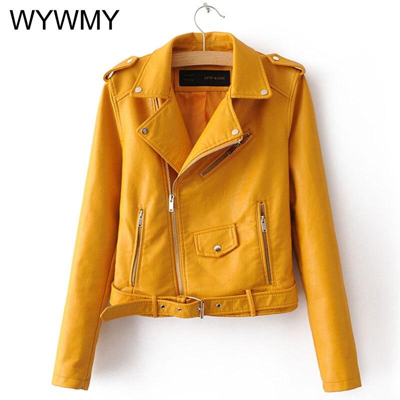 Модная женская куртка WYWMY из искусственной кожи яркого цвета, черные мотоциклетные куртки, короткие Байкерские Куртки из искусственной кож...