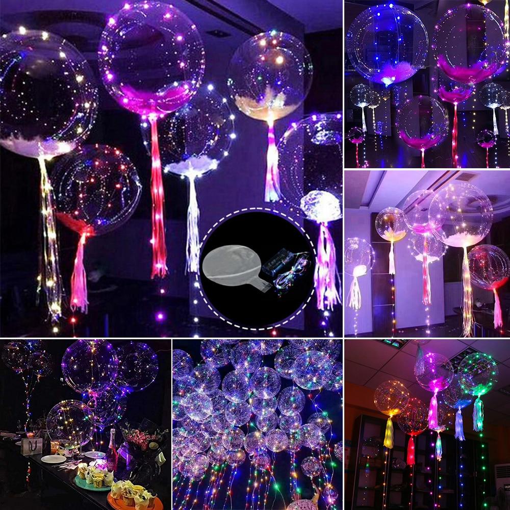 Прозрачные латексные воздушные шары со светодиодной полосой 3 М медный провод светящиеся светодиодные воздушные шары для свадьбы дня рожде...