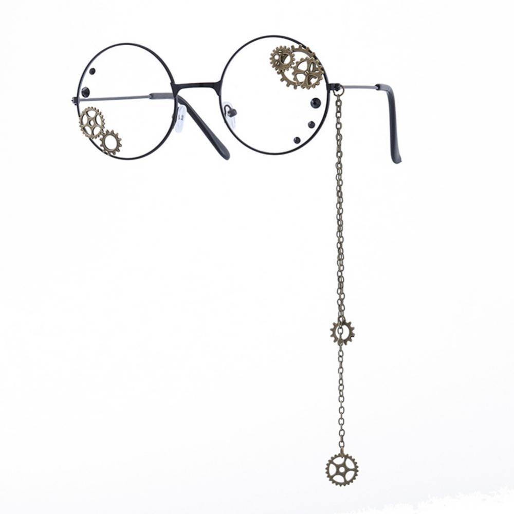 80% горячая Распродажа в стиле панк, унисекс круглый кулон покрытый полый Шестерни цепи очки оправа для очков