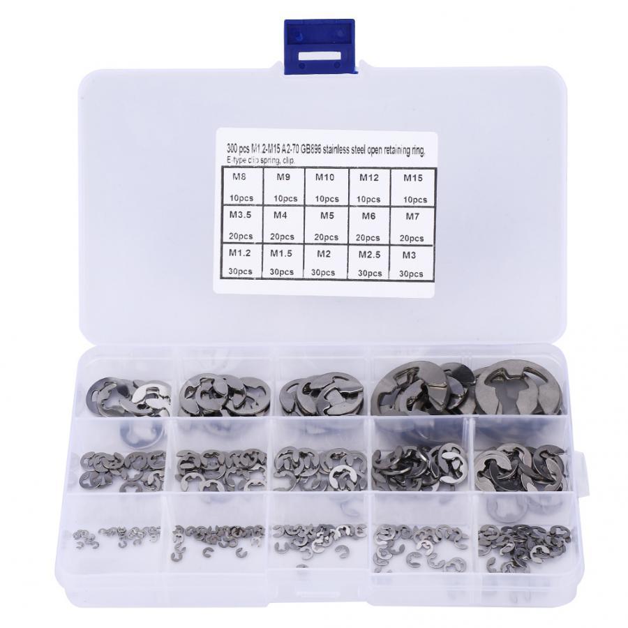 300 Pcs E Clip Set Edelstahl E-Typ Beibehaltung Ring Sicherungsring Sortiment Kit M1.2 ~ M15 edelstahl washer