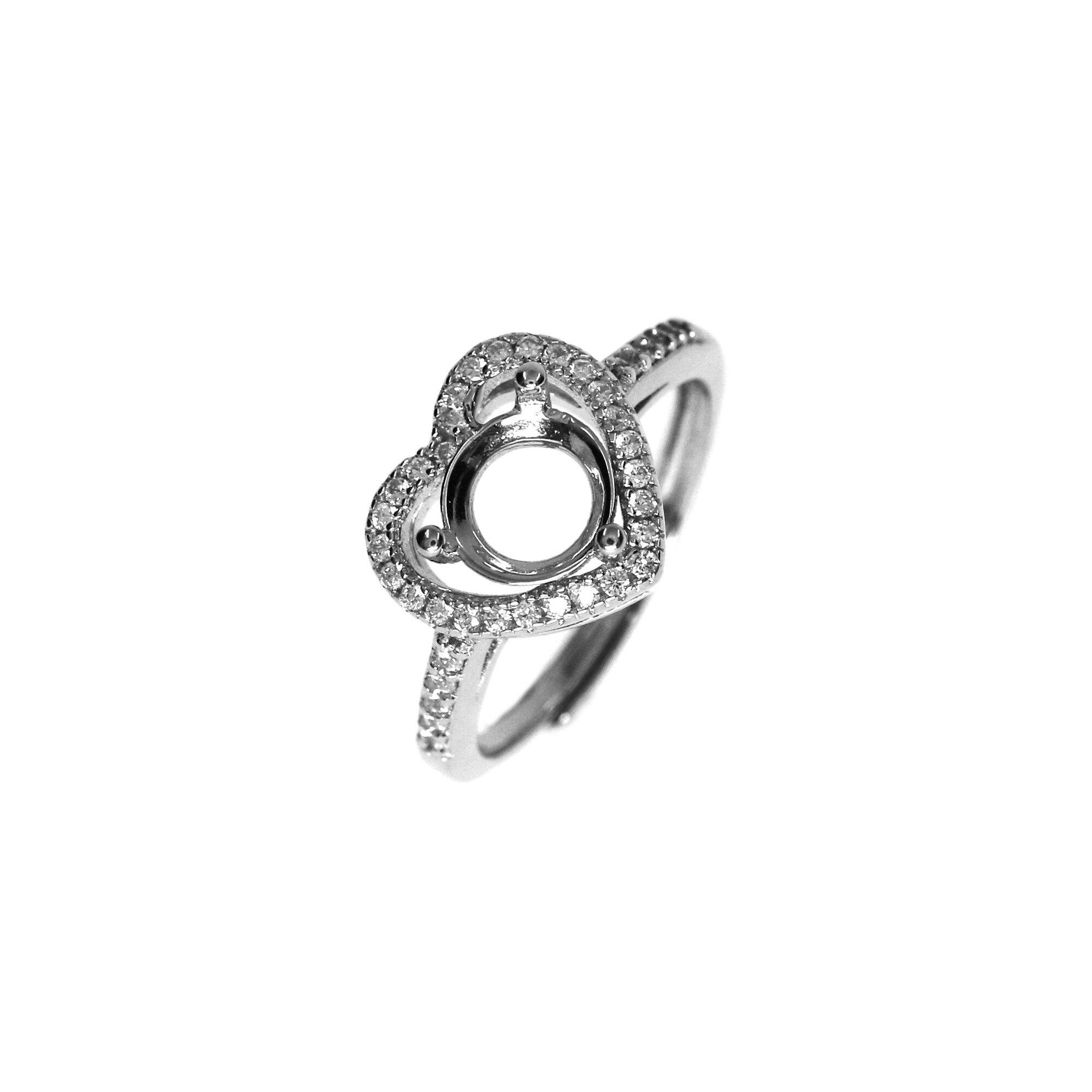 5-9MM runde einfache Edelstein CZ stein prong lünette feste 925 sterling silber einstellbare ring einstellungen herz form 1214032