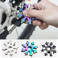 portable 18 in 1 mini snowflake multi pocket tool spanner hex wrench multipurpose camp survive outdoor hike key ring key chain