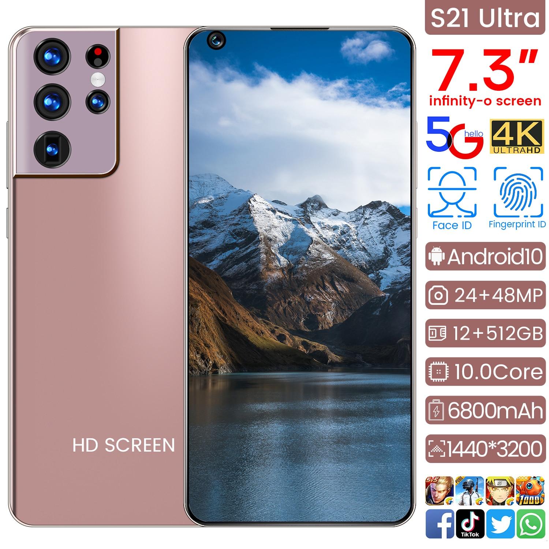 هاتف ذكي 5G Samsug S21 Ultra ، إصدار عالمي ، 6800 مللي أمبير ، أندرويد 10.0 ، 7.3 بوصة ، قطرة ماء ، شاشة عالية الدقة ، 12 جيجابايت ، 512 جيجابايت