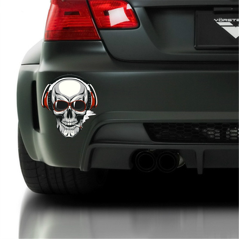 Creativity JDM Cool Smoking Skull Car Sticker Decal Creativity Bumper Window Cover Scratches Waterproof Accessories KK15*15cm  - buy with discount