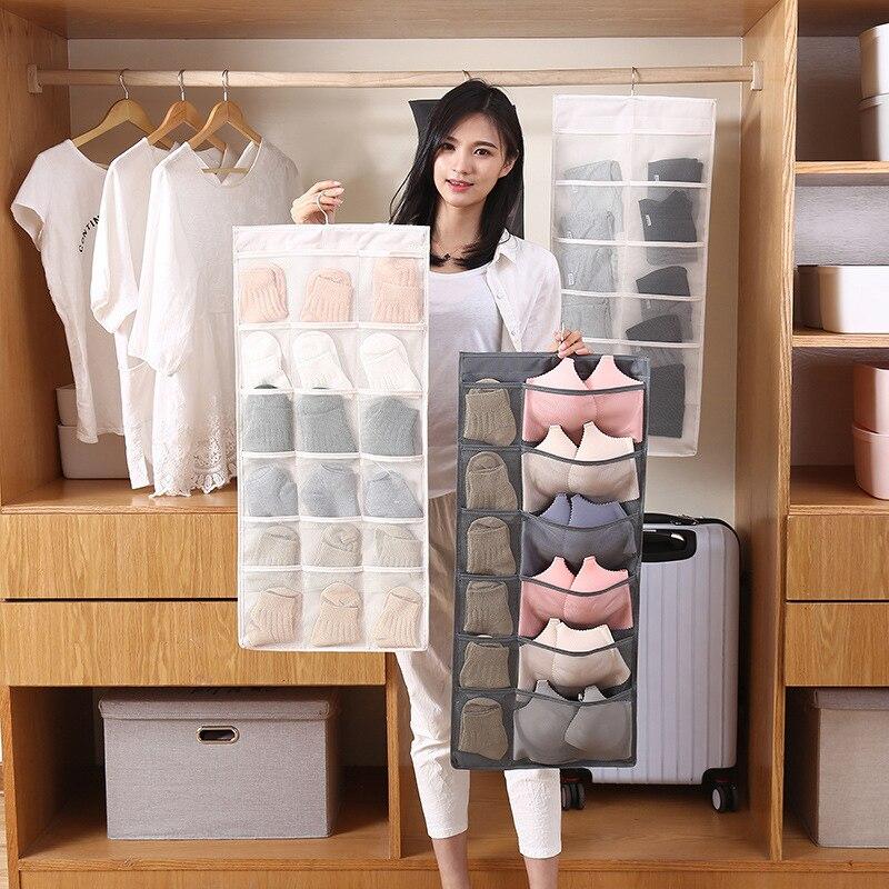 Saco de armazenamento de roupas, organizador de sutiã, meias, organizador dobrável, em pano oxford, acessórios para pendurar no armário