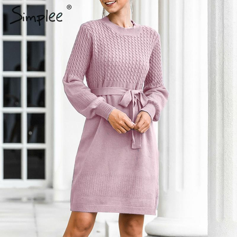 Simplee suéter de cintura alta vestido elegante cinturón suave línea a vestido de punto para mujer vestido de oficina para dama sólido ajustado elegante para fiesta otoño vestido