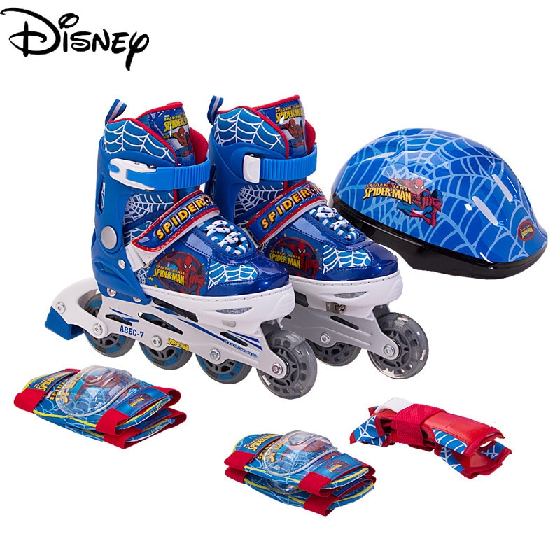 Genuine Disney Marvel Skates Student Primary Training Single Row Wheel with Flashing Roller Skates Suit with Protective Gear