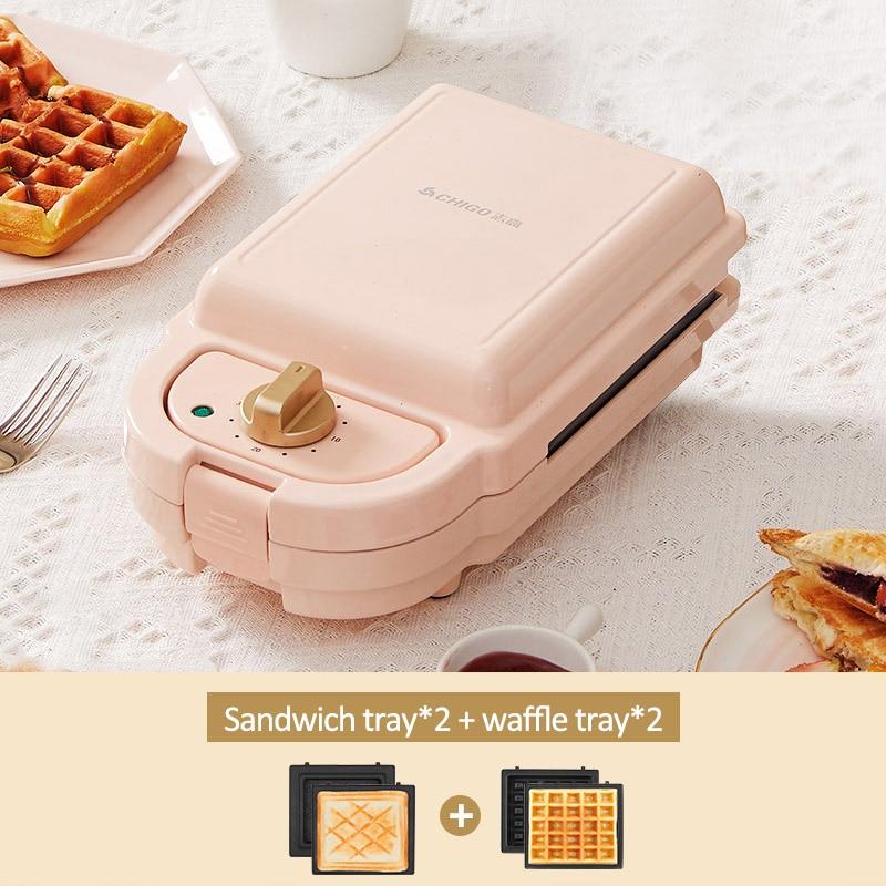 600 واط الكهربائية صانع الهراء توقيت صانع الساندوتشات محمصة الخبز ساندويتش آلة الإفطار Waflera متعددة طباخ 220 فولت