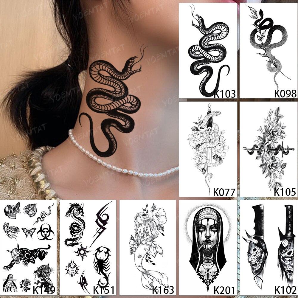 Водостойкие временные тату-наклейки, 9 шт., черная змея, цветок, меч, демон, монахиня, Ранняя школа, искусство тела, искусственная татуировка д...