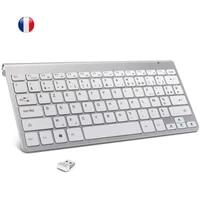 2 4g french wireless keyboard ultra slim azerty layout multimedia keyboard low noise for laptop desktop windows smart tv