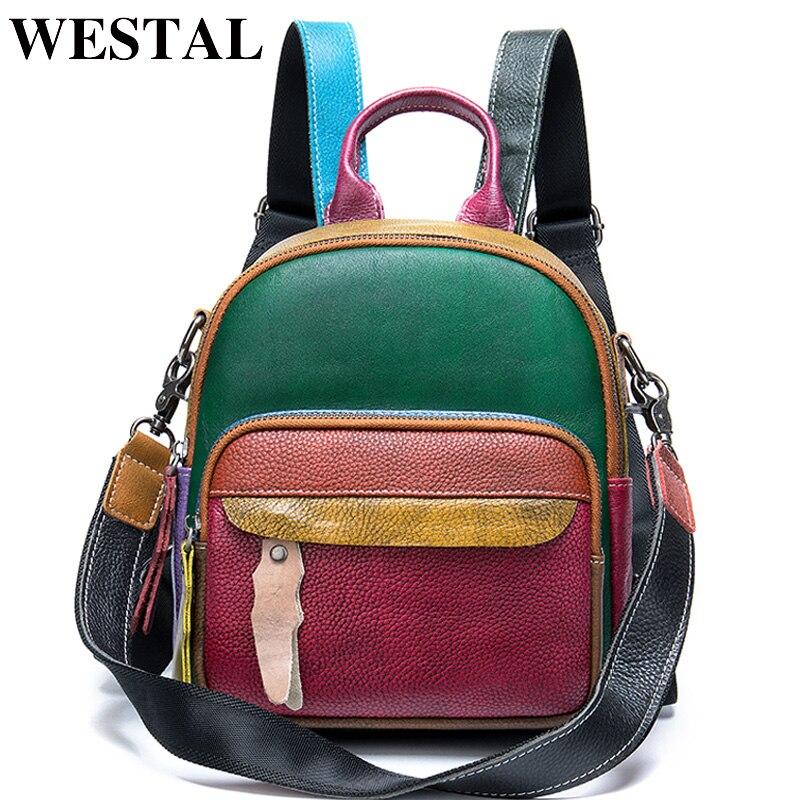 WESTAL Small Womens Backpack Genuine Leather School Bag for Teenager Girls Patchwork Daypack Mini Backpack Women Back Bag 049