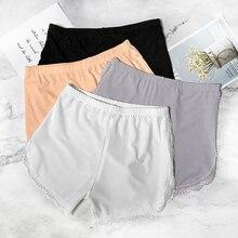 Waatfaak Summer Lace Women's Short Elastic Waist Sexy Hot Pants Push Up Solid Safety Shorts Ladies Arc Hem Women Boxers 2020