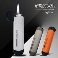 butane grinding wheel open flame lighter creative portable ultra thin cigarette lighter mens gadget cigarette accessories
