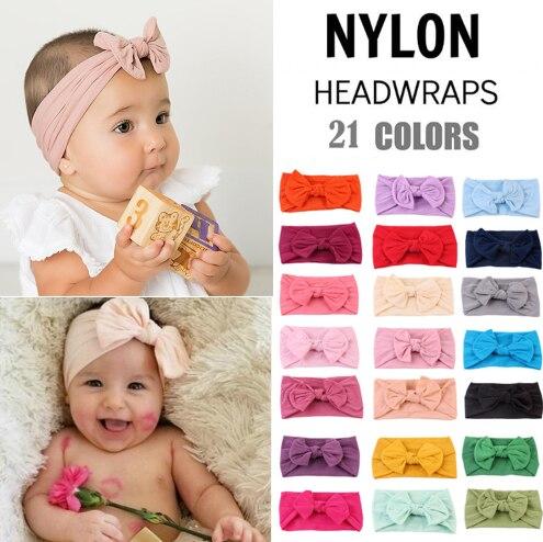 21 Colors Nylon Headband For Baby Girls Boys Soft Bow Knot Turban Hair Bands Baby Hair Accessories For Children Headwear TXTB1
