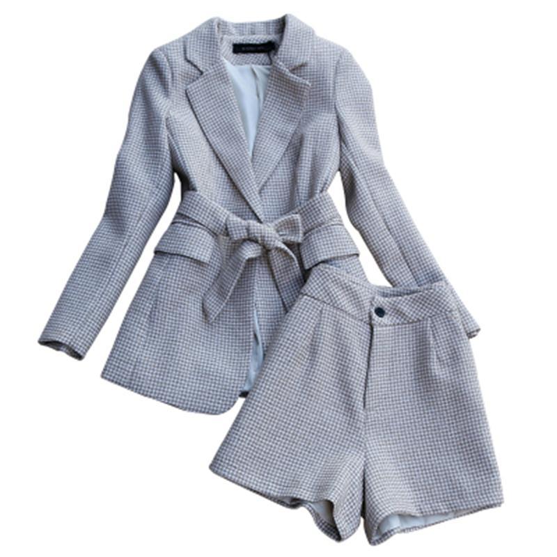 بدلة نسائية منقوشة من الصوف ، ملابس عمل غير رسمية ، أرجل واسعة ، مع حزام ، مجموعة ربيعية