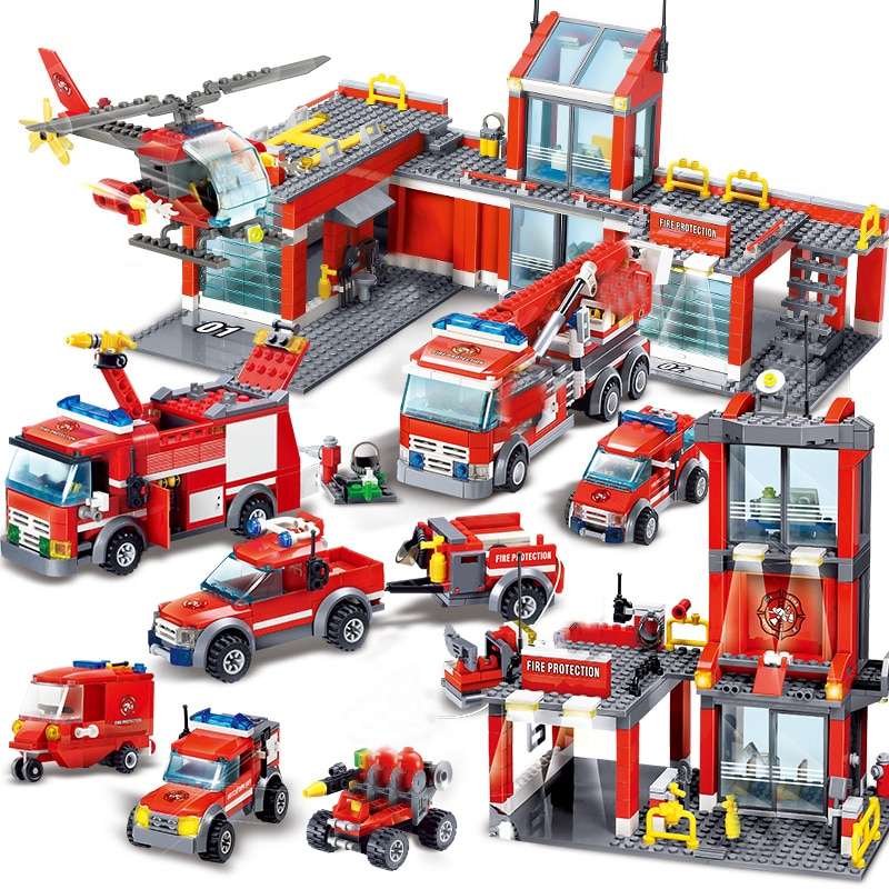 QWZ City Fire Station Building Blocks Sets Fire Engine Fighter Truck Enlighten Bricks Playmobil Toys for Children Gifts