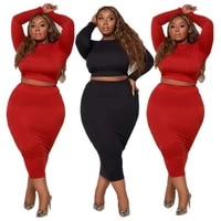 long sleeved two piece skirt suit plus size woman dress set black bodycon curved outfit for female autumn clothing