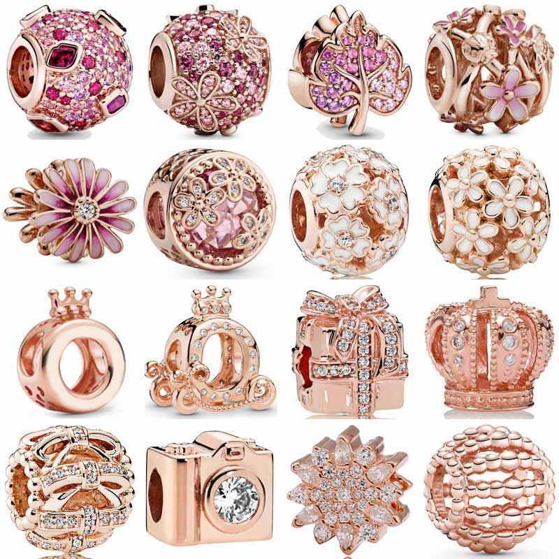 Rosa rosa pavimenta Flor de Margarita hoja de hielo brillante calabaza carro corona O encanto 925 cuentas de plata esterlina ajuste pulsera DIY joyería