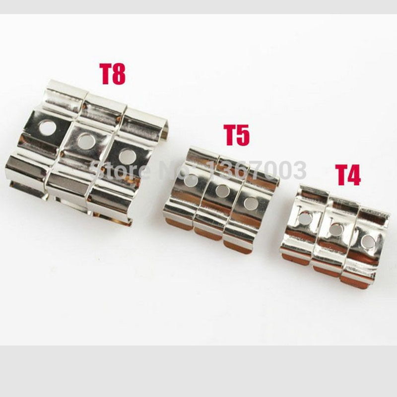 Suporte fluorescente para tubo de led t8 t5 t4, clipe de metal t8 para suporte, acessórios para conector e iluminação, 20 peças