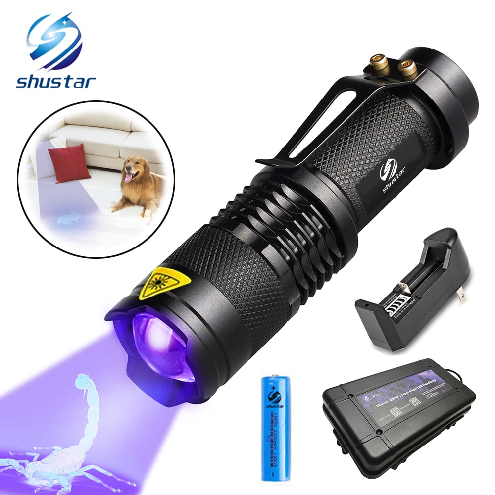 UV Flashlight Ultra Violet Light With Zoom Function Mini UV Black Light Pet Urine Stains Detector Sc