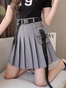 Spring 2021 New Female Pleated Short Skirt Female Cool Dark Black A-line High Waist Pocket Tooling Skirt  Harajuku Skirt
