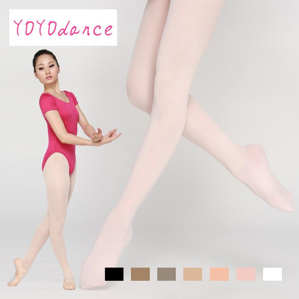 Medias de ballet con pies de microfibra suaves de bronceado blanco y rosa para niñas y mujeres adultas con pretina de algodón