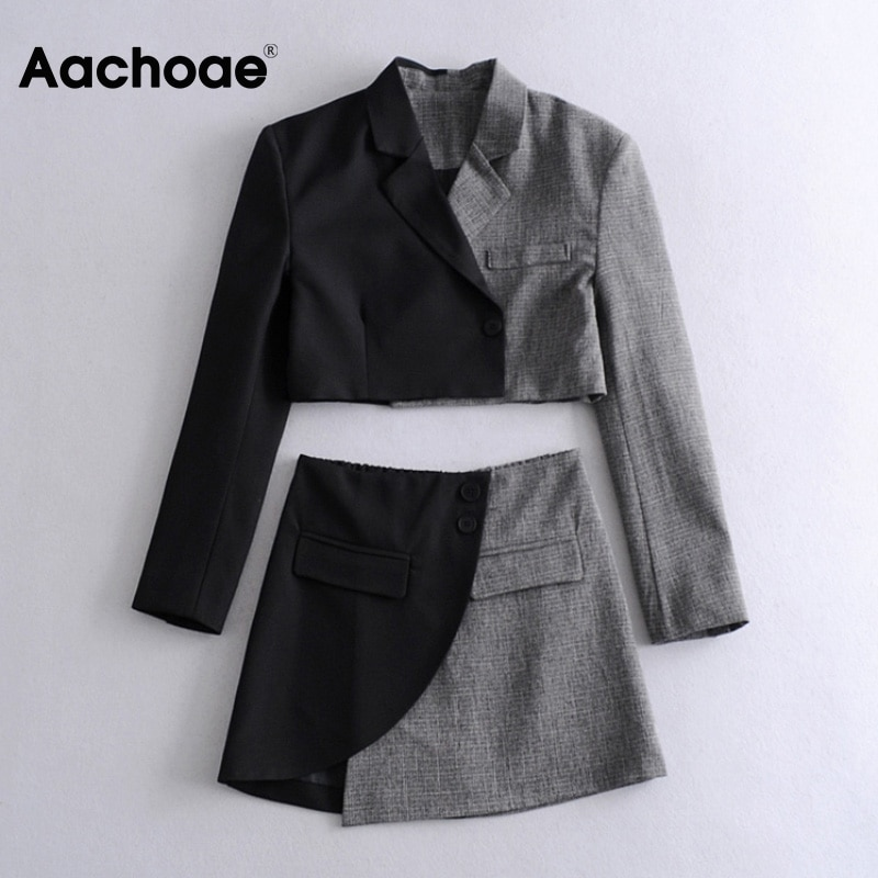 Aachoae Stylish Patchwork 2 Piece Set Women Notched Neck Elegant Short Blazer Button Pocket A Line Mini Skirt Sets Lady Outfit