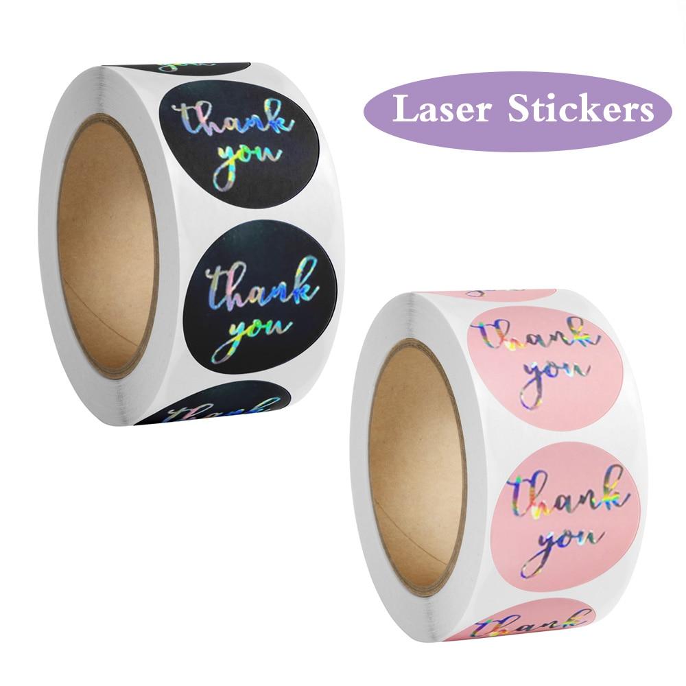 100-500 шт., лазерные наклейки «спасибо»