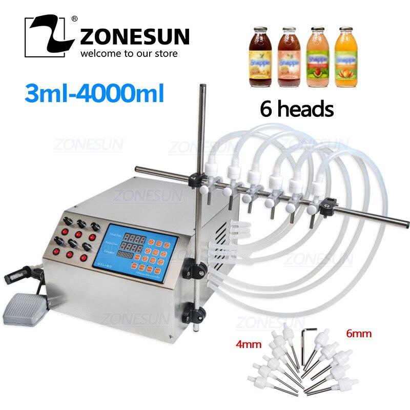 ZONESUN Электрический насос с цифровым управлением жидкий 6 головок разливочная машина жидкий парфюм вода сок эфирное масло напиток 3-4000 мл