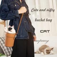 creative cute simulation cat crossbody bag for women shoulder bag brand designer women bags handmade leather bucket bag handbag