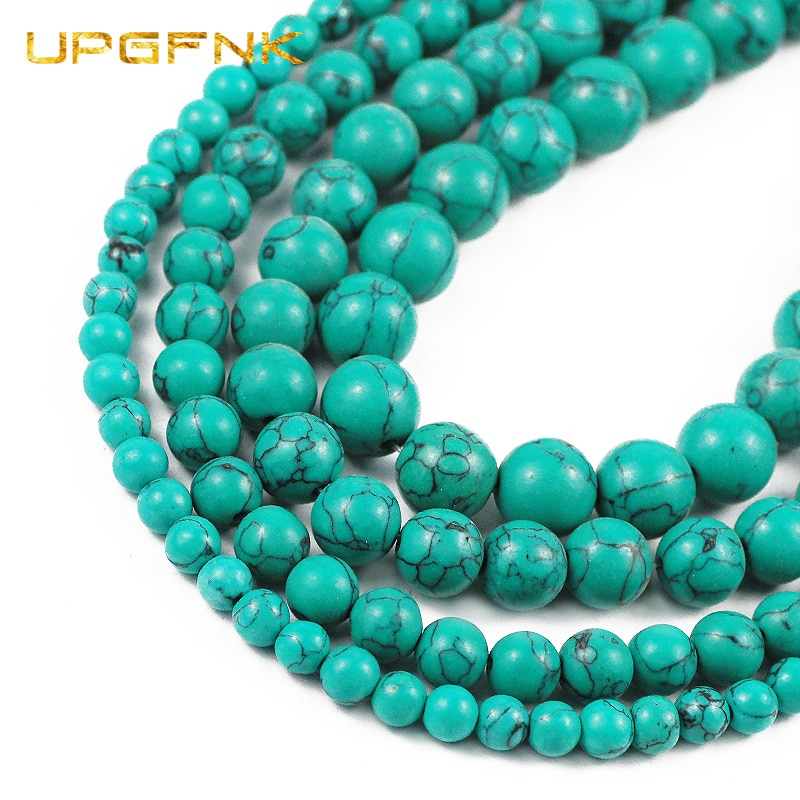 Cuentas separadoras redondas sueltas de turquesas verdes de piedra Natural UPGFNK para fabricación de joyería DIY, collar de pulsera de 15 hebra 6/8/10/12MM