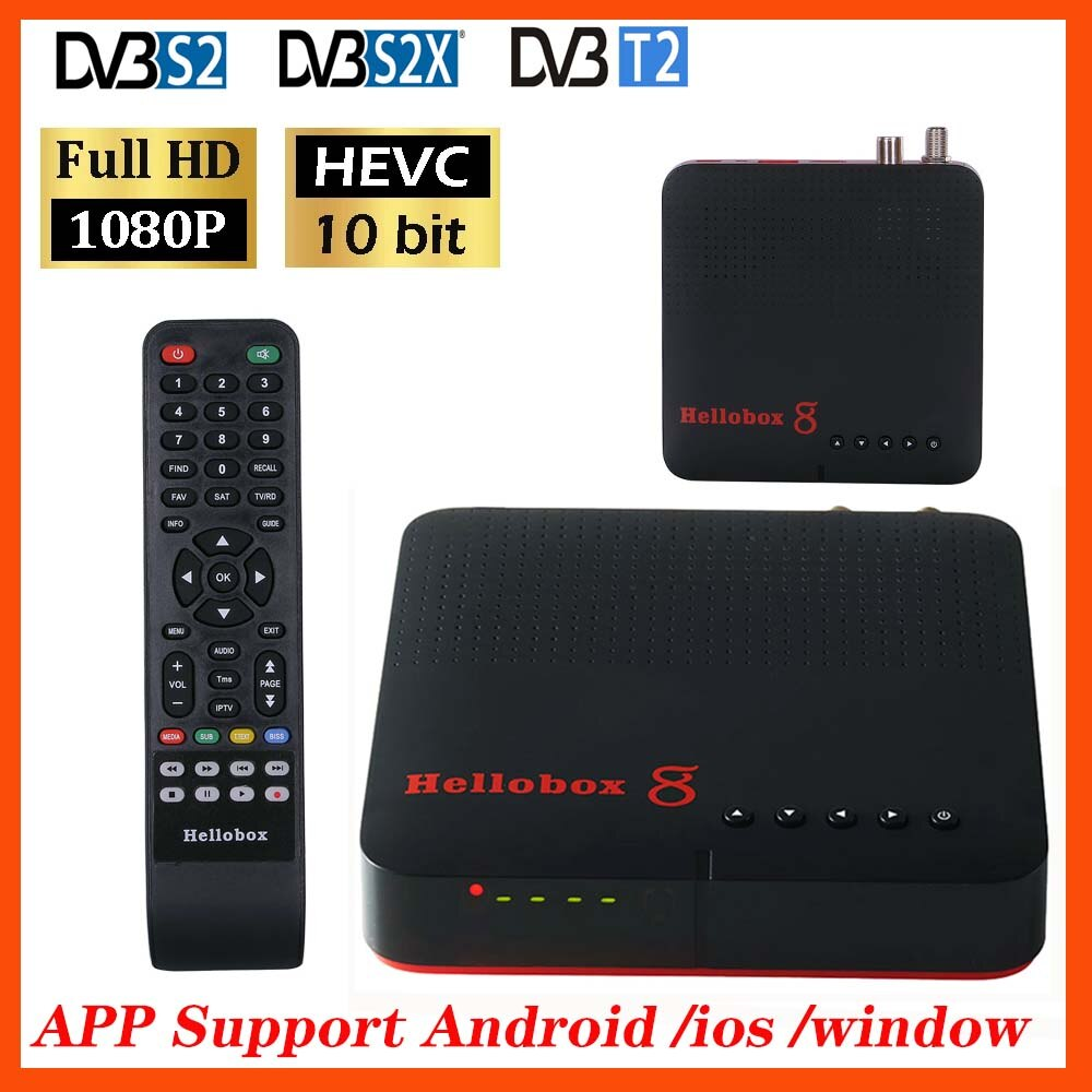 Hellobox 8 DVB-T2 receptor de satélite combo DVB-S2 h.265 receptor de tv embutido wifi android/ios/windows satélite f