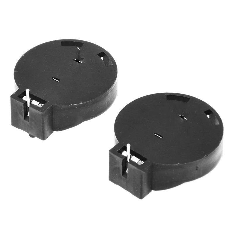 2 uds CR2450 Botón de pila de botón de batería soporte de 2 pines negro
