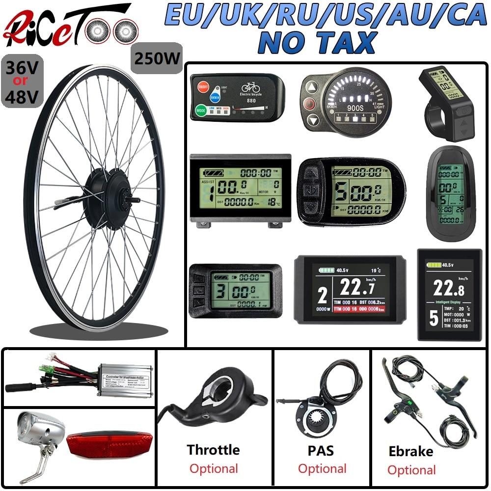Kit de conversão de bicicleta elétrica 48v36v, 250w, motor dianteiro, com opcional 16-29 Polegada, 700c, aro, display kt kit de ebike do acelerador